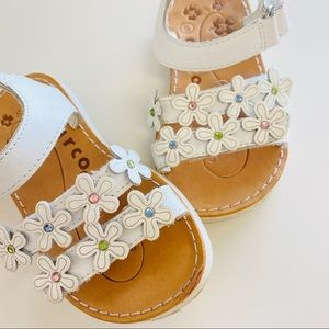 White flowered baby sandals - size 6